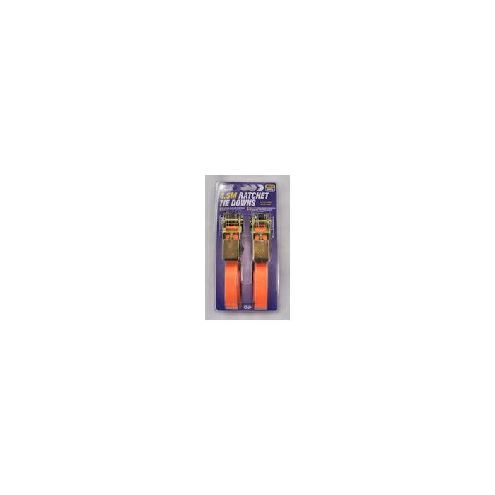 Ratchet Strap & S Hooks 25mm x 4.5M Pair