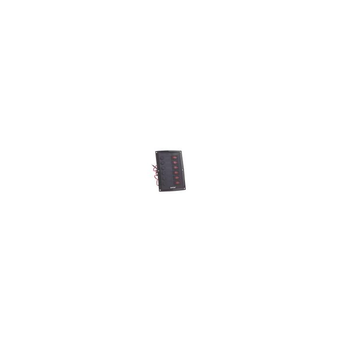 6 Way Black Vertical Moulded Switch Panel