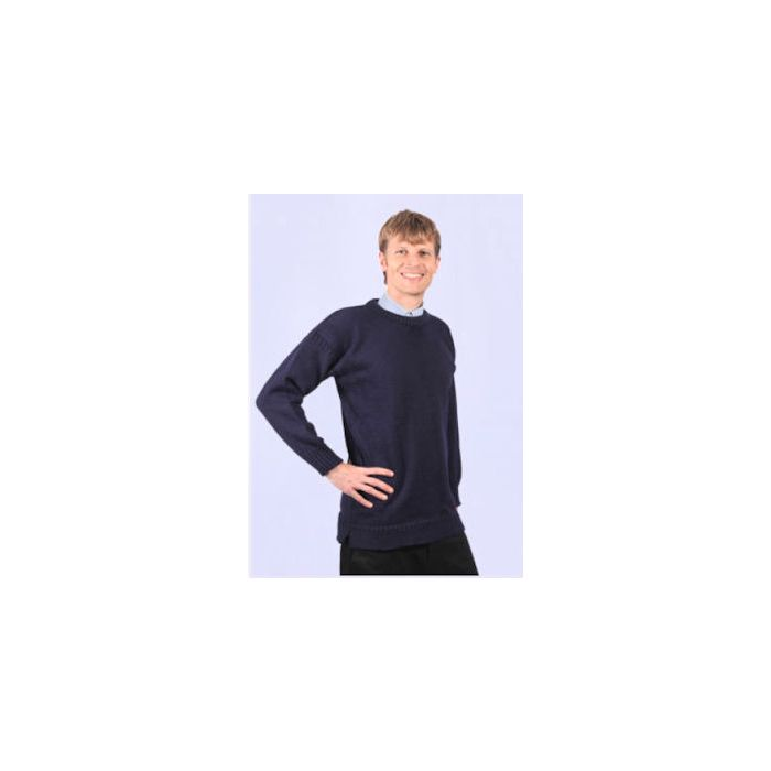 Guernsey Crew Neck Sweaters - Navy