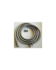 "Chrome Shower Hose 1/2""BSPF-3/8"" BSPF 2Mtr"