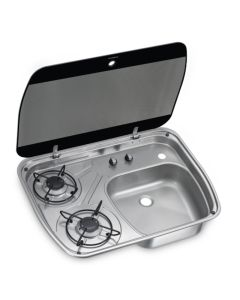 Dometic HSG 2445 Two-burner hob and sink combination with glass lid