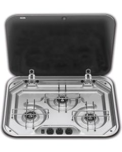 Smev S/S 3 Burner Hob With 12v Ignition c/w Glass Lid