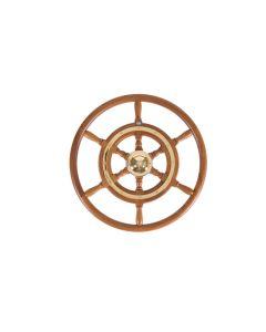 Stazo 500mm Traditional Teak  Wheel Brass Trim / Teak Rim