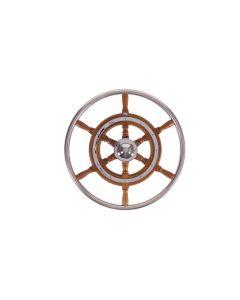 Stazo 500mm Traditional Teak Wheel Chrome  Trim S/S Rim